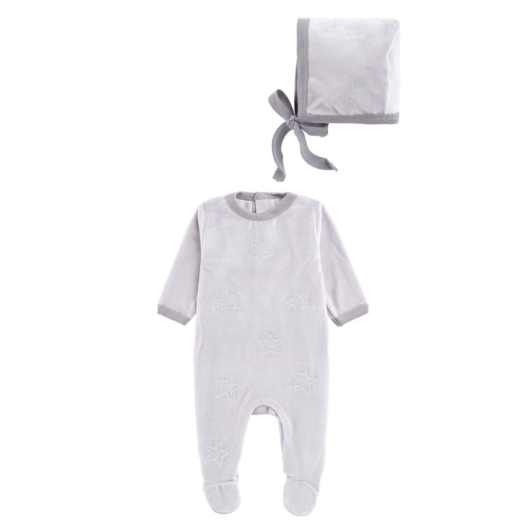 Coton Pompom Velour Grey Star Footie Set