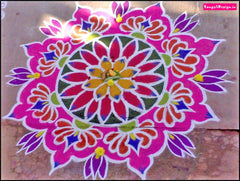 rangoli drawn with sand