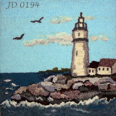 Lighthouse Scene Iconic pattern of light house on sea coast - Seaside Rug Hooking Company Pattern
