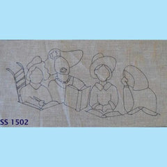 Book Club - Seaside Rug Hooking Company Pattern for rug hooking or punching. Simple pattern of group of 4 ladies