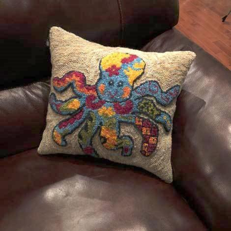 Talavera Octopus Pilllow - Seaside Rug Hooking Company Pattern