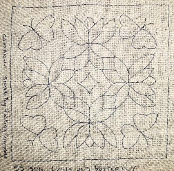 Lotus and Butterfly Rangoli - Seaside Rug Hooking Company Pattern