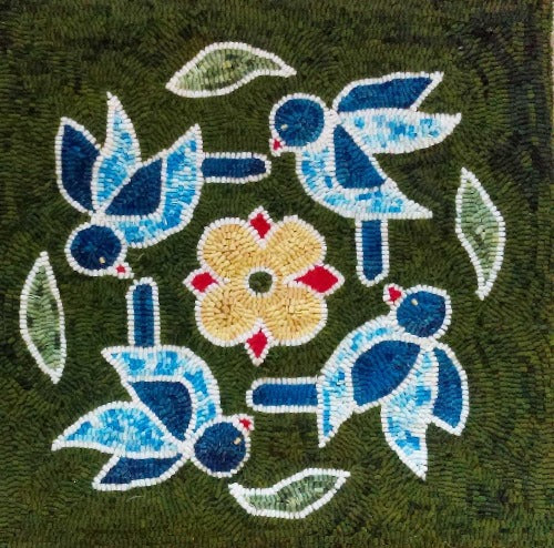 Bird Rangoli - Seaside Rug Hooking Company Pattern