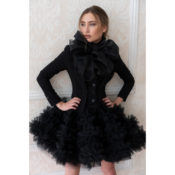 SALE - BLACK RUFFLE SKIRT