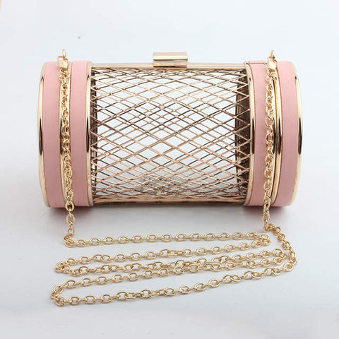 SOLD OUT Luxury Blush Metal Cage Bag