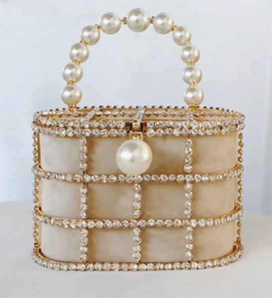 Champagne Luxury Pearl and Crystal Cage Bag
