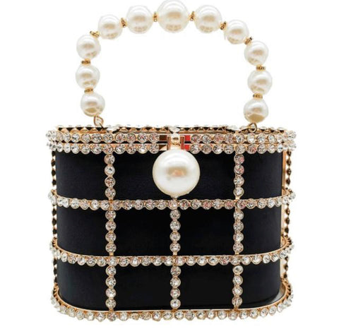 Black Luxury Pearl and Crystal Cage Bag