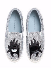 Flirting Superhero Silver Glitter Slip-On Sneakers