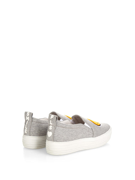 Smile Grey Jersey Slip-On Sneakers