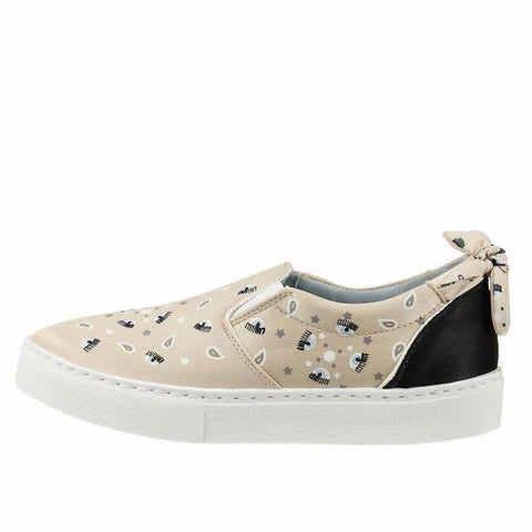 Satin Bandana beige Slip-On Sneakers