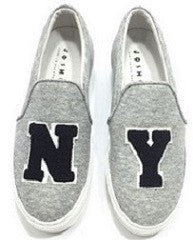 NY Grey Jersey Slip-On Sneakers
