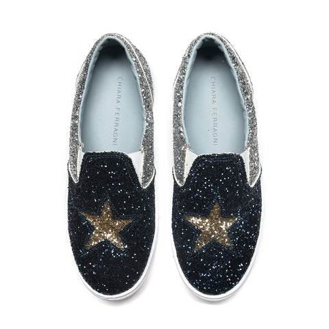 Silver and Navy Glitter Slip-On Sneakers