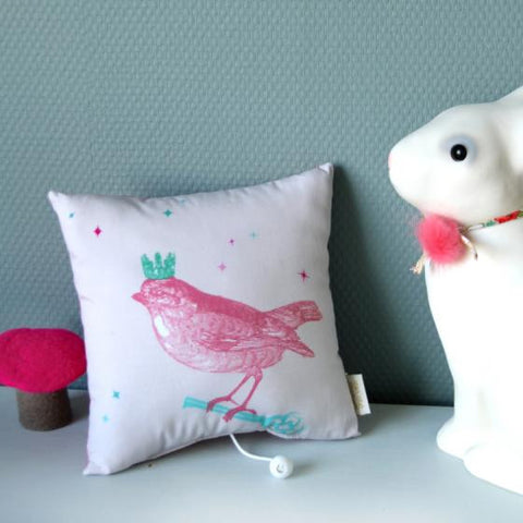 Musical Bird Pillow 'La vie en rose'