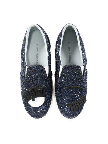 Flirting Blue Glitter Slip-On Sneakers