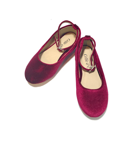 Kids Bordeaux Velvet Mary Jane Flats