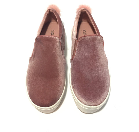 Women Blush Velvet Slip On Sneakers