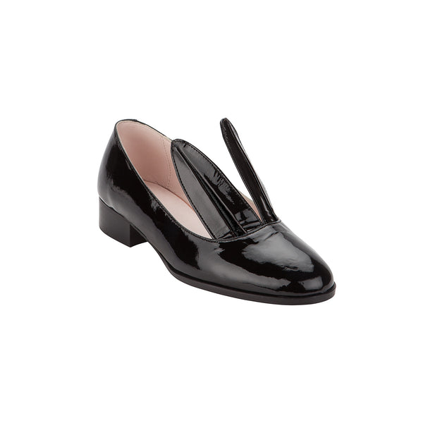 BLACK PATENT BUNNY LOAFER