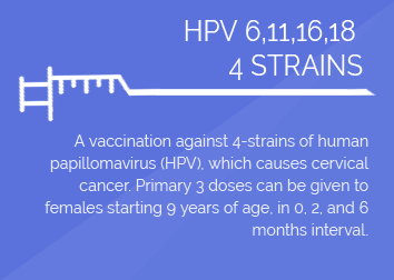 VACCINATION for the prevention of HPV 6, 11, 16, 18-associated Cervical Cancer  (per shot)