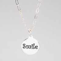 Smile Charm necklace in PermaSilver back detail