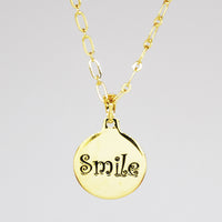 Smile Charm necklace in PermaGold back detail