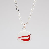 Smile Charm necklace in PermaSilver front detail