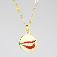 Smile Charm necklace in PermaGold front detail