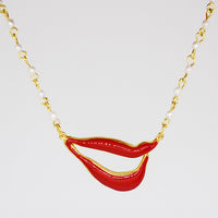 Sylvia Bennett signature lips pendant with PermaGold Chain and pearl beads