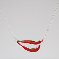Sylvia Bennett signature lips pendant with PermaSilver Chain