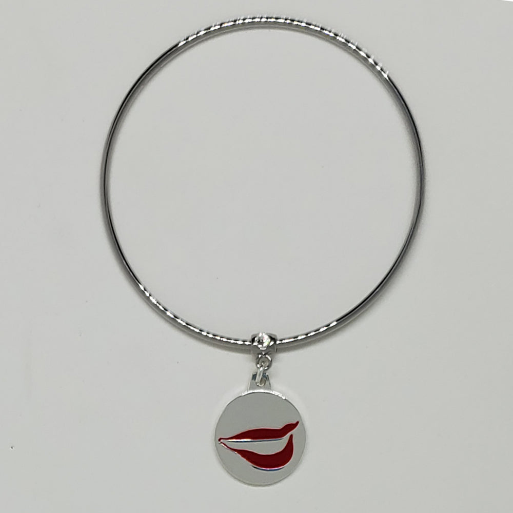 Smile Charm Bangle Bracelet with Swarovski Crystal