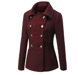 Long sleeved Lapel Double Breasted Pockets Woolen Coat