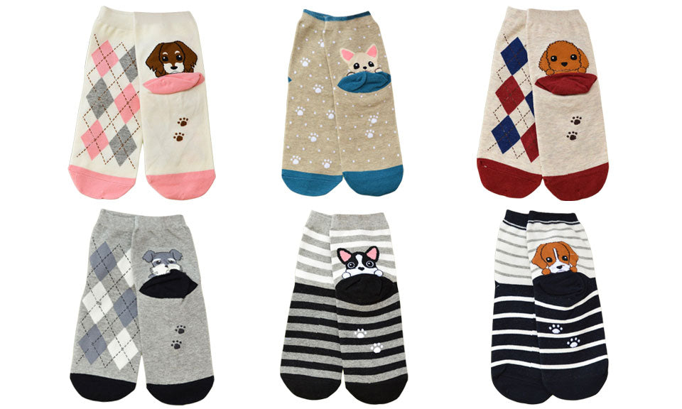 Unisex Cartoon Cotton Socks(6 pack)