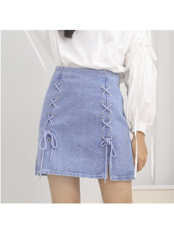 Lace-up Sides High-Waist Denim Skirt