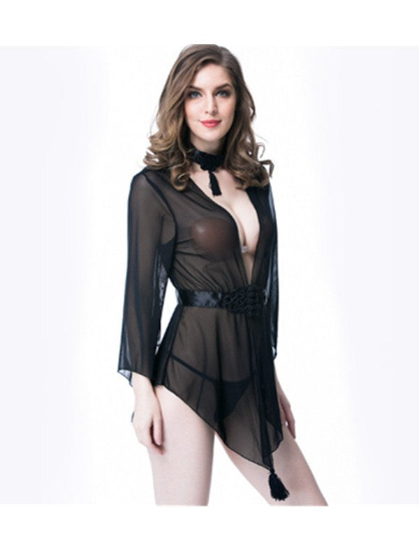 Sexy Lingerie Mesh Piece Suit Underwear With Necklet