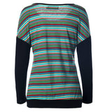Colorful Stripes Splicing Sleeves Top - FIREVOGUE