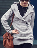 Button Detail and Longline Knit Hoodie - FIREVOGUE