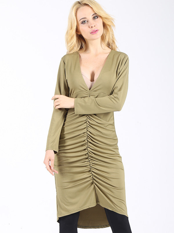 Ruche Hour Plunging Dress