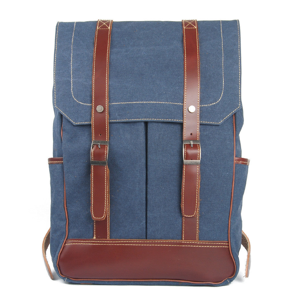 Go Your Own Way Blue Canvas Backpack - FIREVOGUE