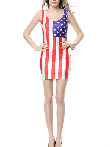 Women American Flag Printed Mini Dress