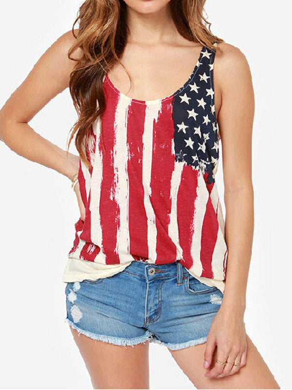 Women Sleeveless American Flag Print T-Shirt - WealFeel