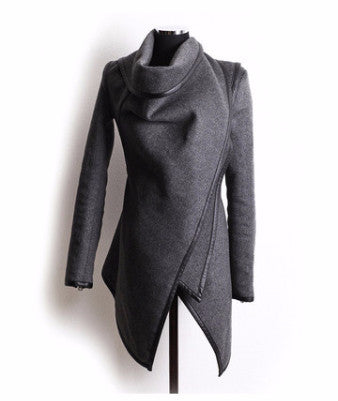 Round Neck Irregular Cut Coat - FIREVOGUE