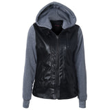 Moto Zip Hooded Leather Jacket - FIREVOGUE