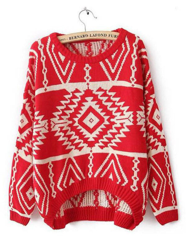 Retro Print Sweater