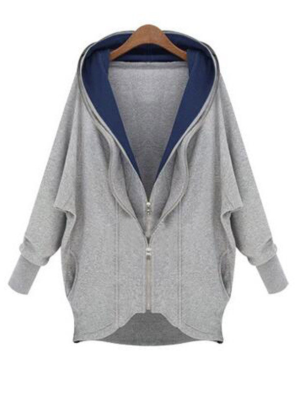 Double Zipping Hooded Sweatshirt - FIREVOGUE
