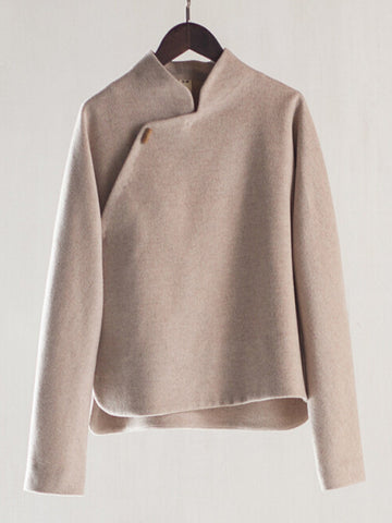 Side Button Special Design Woolen Coat
