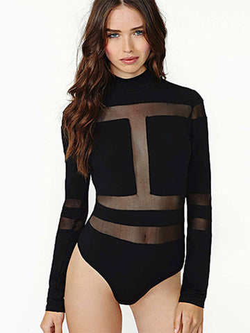 Black Sexy Long Sleeve Bodysuit - FIREVOGUE