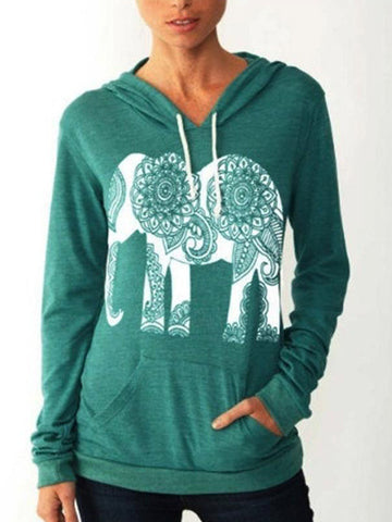 Elephant Print Hooded Sweatshirt - FIREVOGUE