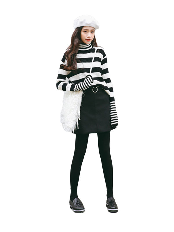Stripe World Casual Turtleneck Sweater