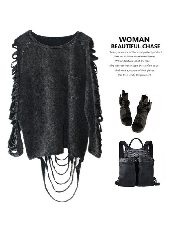 Punk Style Tassel Loose Top - FIREVOGUE