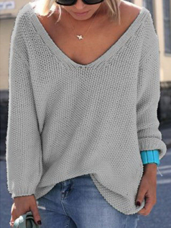 Loose Talk V Neck Knitted Top - FIREVOGUE
