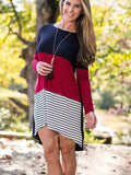 Striped Black And White Asymmetric Dress - FIREVOGUE